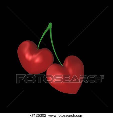 Deux Coeurs Cerise Dessin K7125302 Fotosearch