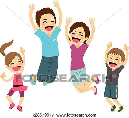 clip art of happy family jumping k28679977 search clipart rh fotosearch com happy family clipart free happy family clipart black and white
