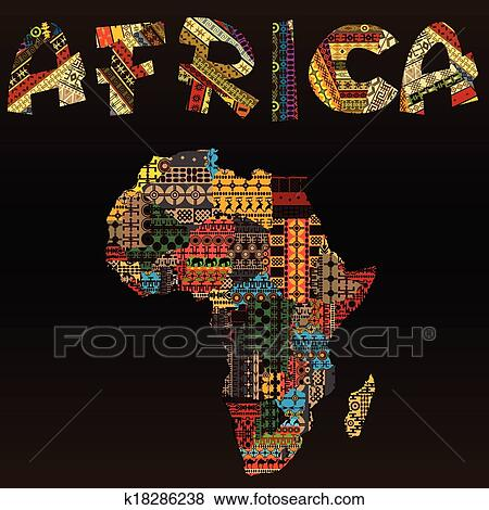 Clip Art of Africa map with African typography made of patchwork ...
