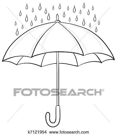 Dessins parapluie et pluie contours k7121954 - Dessin parapluie ...