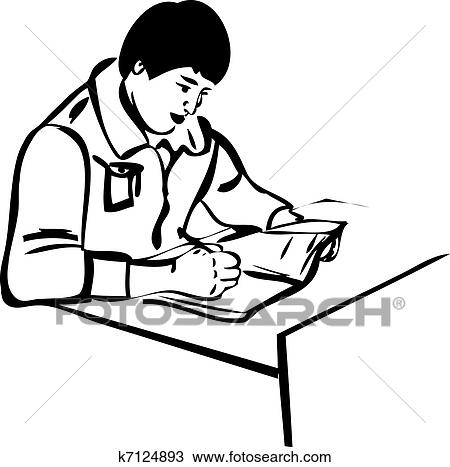 Clipart Of Sketch Writer For The Guy Sitting At The Table K7124893