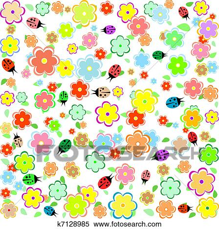 Clipart of spring background with small flowers and ladybugs clipart spring background with small flowers and ladybugs fotosearch search clip art mightylinksfo