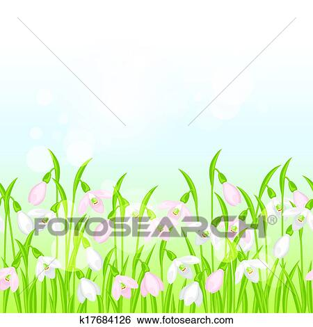Clip Art Of Spring Flowers Snowdrops Seamless Pattern Horizontal
