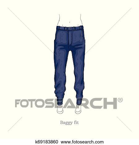 1dcc885e8 Vector, holgado, ataque, estilo, vaqueros, hembra, tela vaquera, pantalones  Clipart