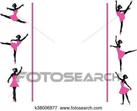 Clip Art of ballerinas dancing frame k38006977 - Search Clipart ...