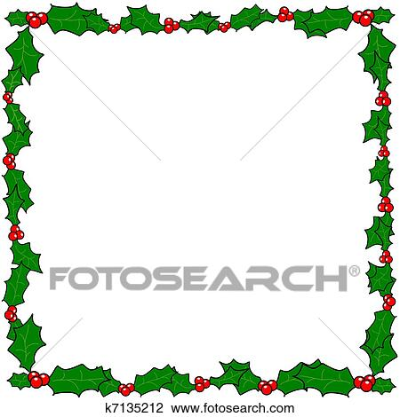 clipart of christmas holly border frame k7135212 search clip art rh fotosearch com Christmas Garland Clip Art Borders christmas holly clip art borders