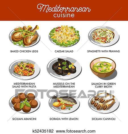 Clipart cuisine m diterran enne nourriture traditionnel plats k52435182 recherchez des - Cuisine mediterraneenne definition ...