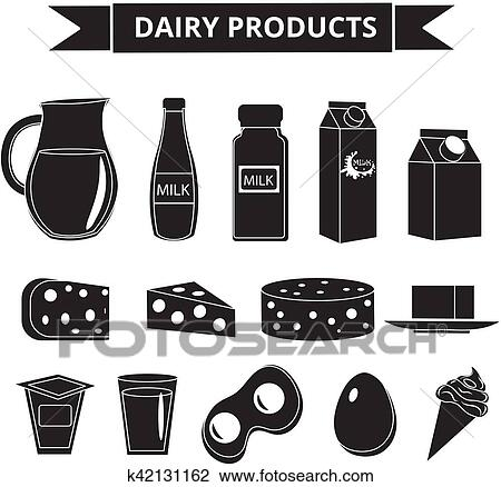 Dairy products icon set silhouette style  Milk isolated on white  background  and Cheese collection  Farm foods  Vector illustration Clipart