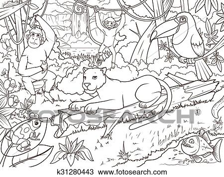 Clipart - dschungel, wald, tiere, karikatur, ausmalbilder k31280443 ...