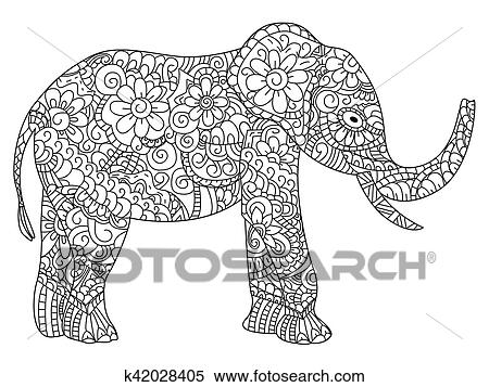 Clipart Elefant Ausmalbilder Vektor Für Erwachsene K42028405