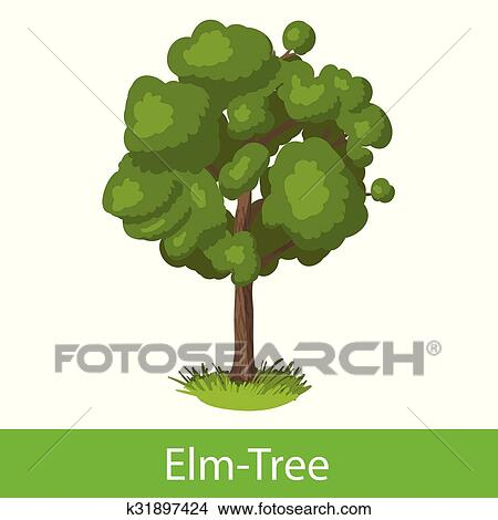 Elm Tree Cartoon Icon Clipart
