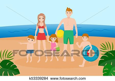Family On The Beach Clipart K53339284 Fotosearch