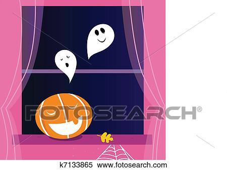 Finestra scena halloween con fantasmi e zucca arancia testa