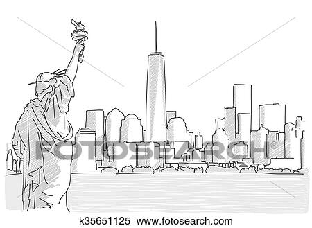 clipart of free hand sketch of new york city skyline with statue of