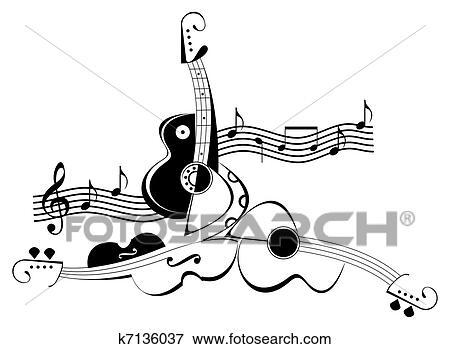 Banque D Illustrations Guitare Et Violon Tatouage K7136037