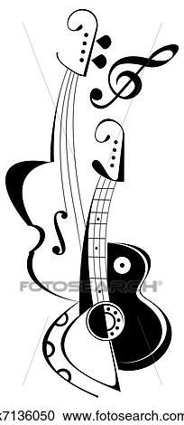 Banque D Illustrations Guitare Violon Tatouage K7136050