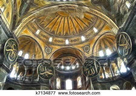 Stock Illustration   Hagia Sophia Interior. Fotosearch   Search EPS  Clipart, Drawings, Decorative