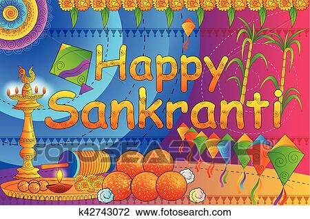 Happy Makar Sankranti Festival Celebration Background Clipart