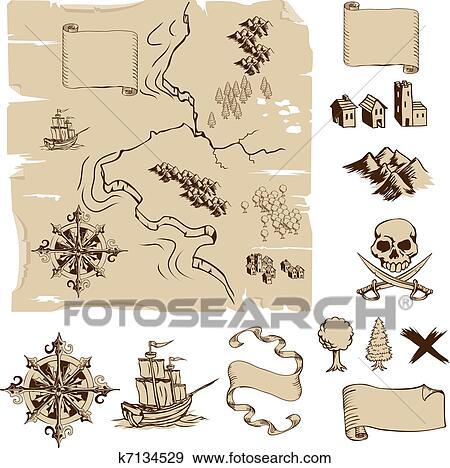 Zeer Clipart - maken, jouw, eigen, fantasie, of, schat, landkaarten #RN76