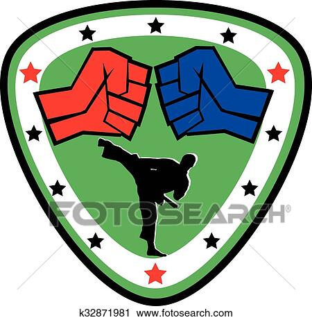 clipart of power fist mma karate boxing logo k32871981 search rh fotosearch com mma glove clipart