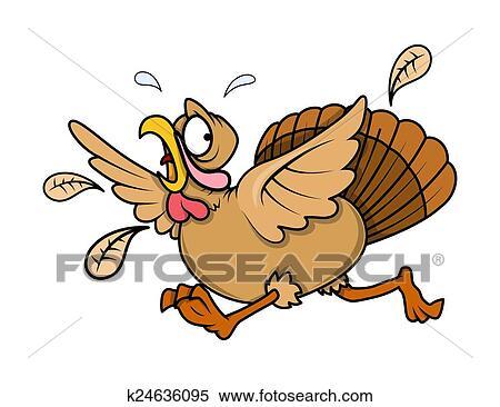 clipart of scared turkey bird running k24636095 search clip art rh fotosearch com Funny Turkey Clip Art Pilgrim Chasing Turkey
