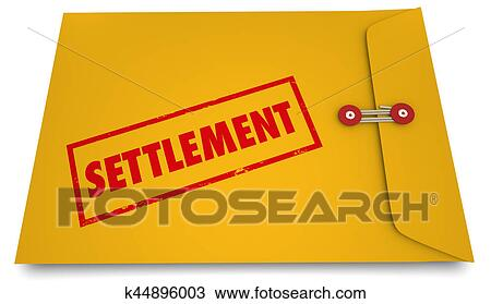 Drawing Of Settlement Legal Deal Agreement Envelope Stamp 3d