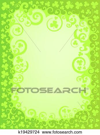 Clipart of shamrock green swirl border k19429724 search clip art a green swirly border intertwined with shamrocks representing the holiday of st patricks day thecheapjerseys Image collections