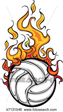 clip art of volleyball flaming ball vector cart k7131546 search rh fotosearch com