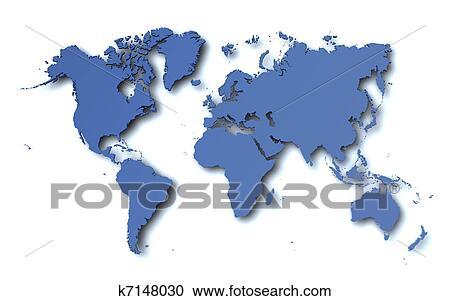 世界地図 クリップアート切り張りイラスト絵画集 K7148030