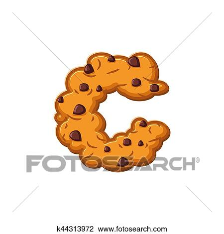 C, lettre, cookies., petit gâteau, font., flocons avoine, biscuit,  alphabet, symbole., nourriture, signe, abc Clipart | k44313972 | Fotosearch