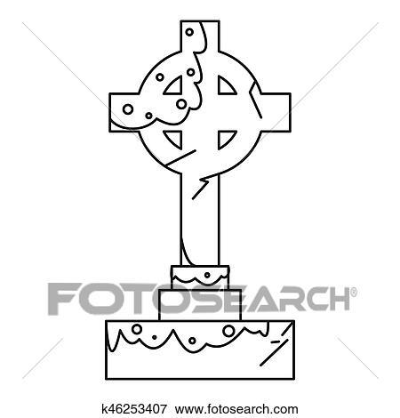 Celtic cross gravestone icon, outline style Stock Illustration