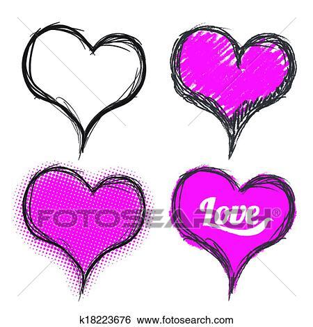 hart, tekening, set clipart   k18223676   fotosearch