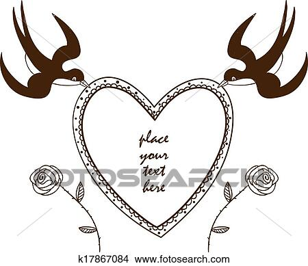 Clipart of Heart frame with swallows and roses k17867084 - Search ...