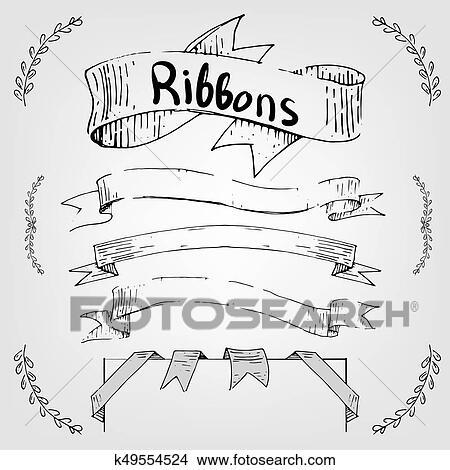 Dessin Ruban clipart - main, dessin, rubans, et, bannières, pour, texte k49554524