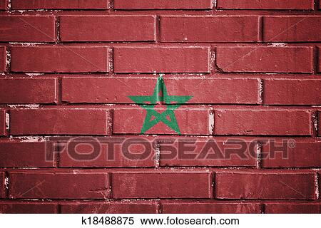 Archivio immagini marocco bandiera su uno textured muro di