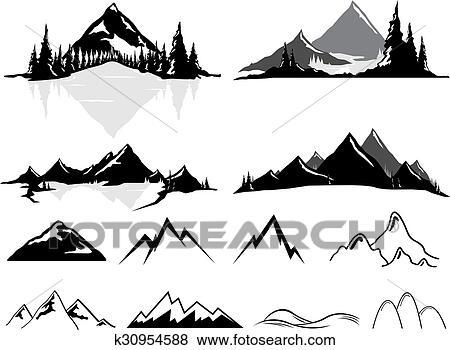 Clipart Montagnes Et Collines Stylise K30954588 Recherchez