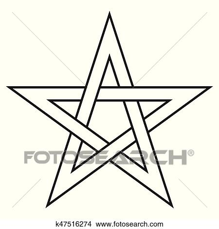 Clipart Of Pentagram Five End Star With Weave Sides Sector Symbol