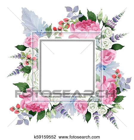 Clip Art of Pink bouquet flowers. Floral botanical flower.Frame ...