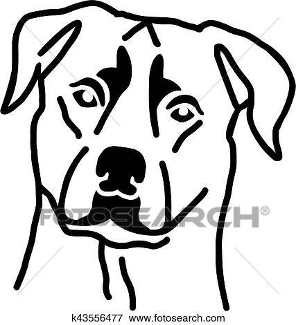 Clip Art - rottweiler, cabeza k43556477 - Buscar Clip Art ...