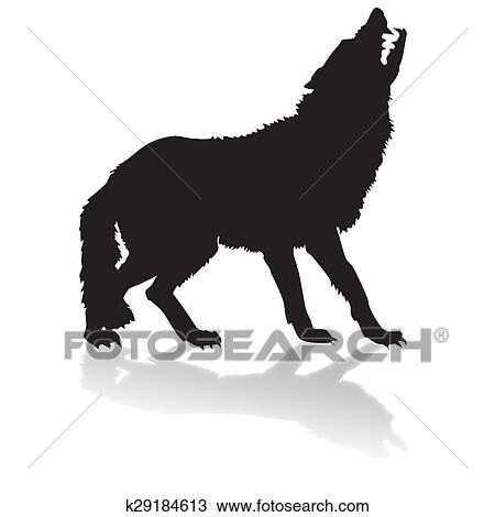 Dessin silhouette de a loup ombre k29184613 - Dessin sombre ...
