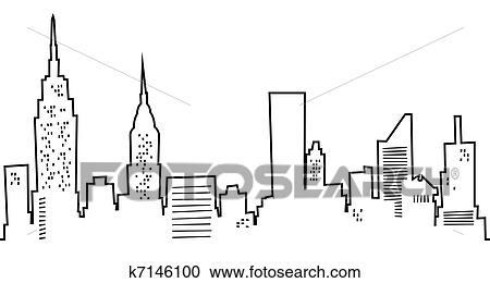 Spotprent New York Skyline Stock Illustraties K7146100