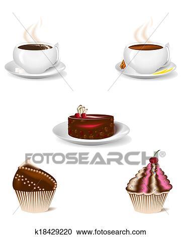 Stock Illustrationen Tasse Kaffee Und Nachtisch Kuchen