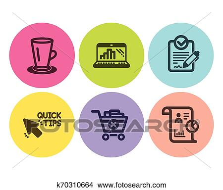 Teacup, Graph laptop and Quick tips icons set. Remove ...
