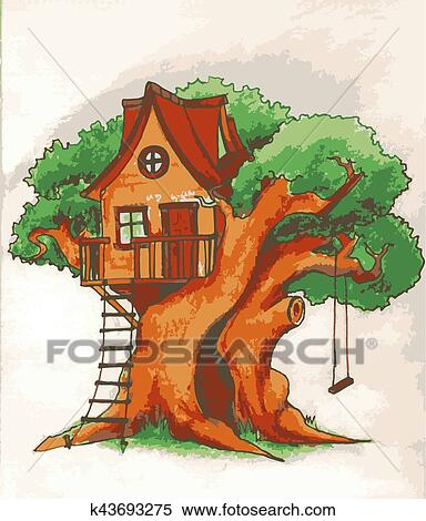 clipart of tree house house on tree for kids children playground rh fotosearch com treehouse clipart free treehouse clipart free