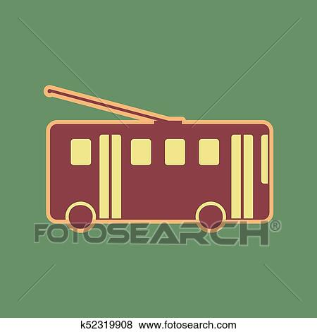 f217430dc1 Clip Art of Trolleybus sign. Vector. Cordovan icon and mellow ...