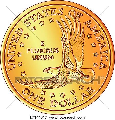 Clip Art Vektor Amerikanisches Geld Gold Dollar Münze Mit