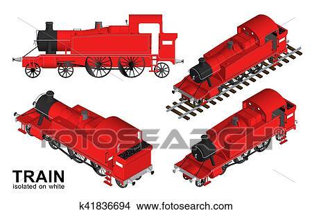 desenhos antigas trem estrada ferro transporte isolado branco