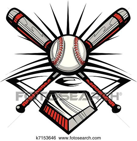 clip art of baseball or softball crossed bats w k7153646 search rh fotosearch com  crossed baseball bats clipart
