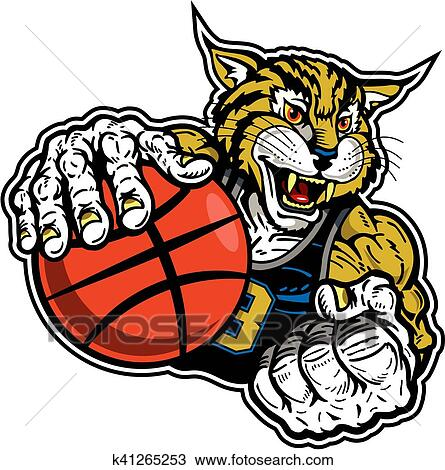 clipart of bobcat basketball player k41265253 search clip art rh fotosearch com free bobcat clipart images