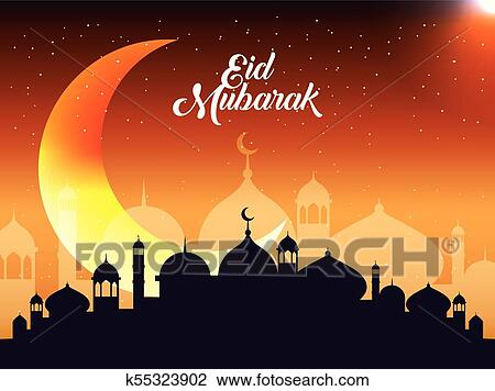 Eid Mubarak Background Clipart K55323902 Fotosearch